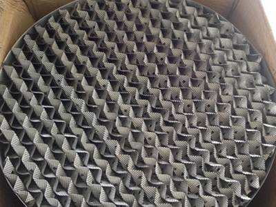 Metal perforated plate corrugated packing is set on a carton box.