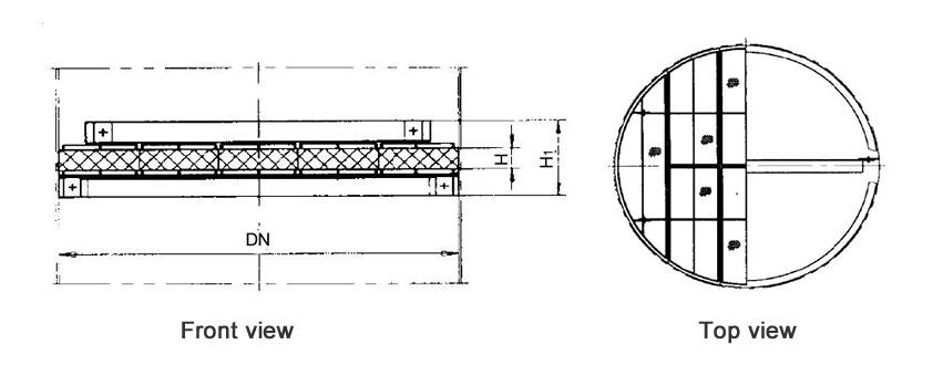 Structure diagrams of above-installed wire mesh demister whose DN is 1700 to 3200 mm, are from front view and top view.