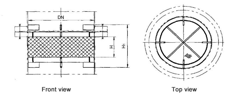 Structure diagrams of above-installed wire mesh demister whose DN is 300 to 600 mm, are from front view and top view.