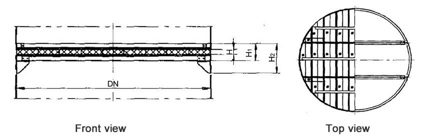 Structure diagrams of above-installed wire mesh demister whose DN is 3400 to 4800 mm, are from front view and top view.
