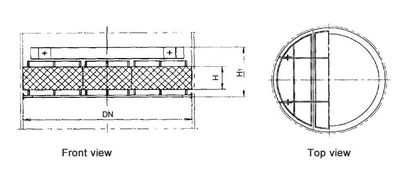 Structure diagrams of above-installed wire mesh demister whose DN is 700 to 1600 mm, are from front view and top view.