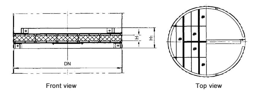 Structure diagrams of below-installed wire mesh demister whose DN is 1700 to 3200 mm, are from front view and top view.