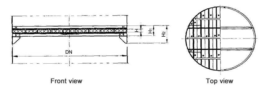 Structure diagrams of below-installed wire mesh demister whose DN is 3400 to 4800 mm, are from front view and top view.