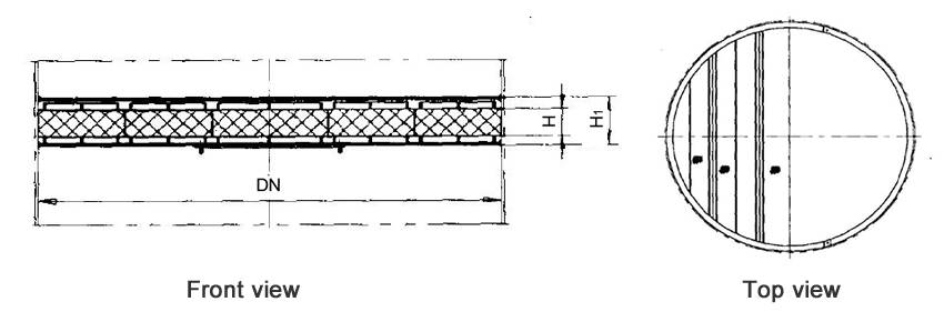 Structure diagrams of below-installed wire mesh demister whose DN is 700 to 1600 mm, are from front view and top view.