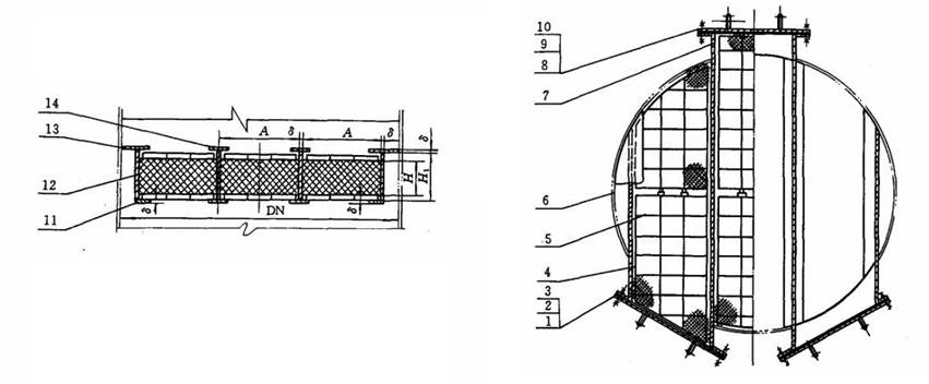 Structure diagrams of drawer type demister whose nominal diameter is 1600 to 2000 mm, are from front view and top view.