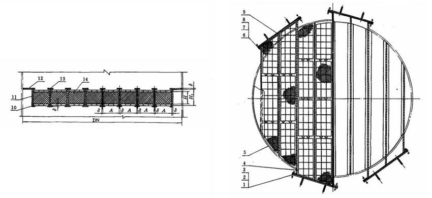 Structure diagrams of drawer type demister whose nominal diameter is 4400 to 5000 mm, are from front view and top view.