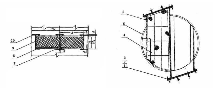 Structure diagrams of drawer type demister whose nominal diameter is 900 to 1400 mm, are from front view and top view.